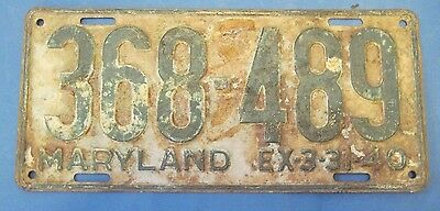 1940 Maryland License Plate