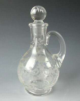 Cambridge Etched Glass CHANTILLY Mini Oil Cruet with Stopper EXCELLENT