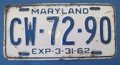 1962 Maryland license plate