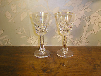EXCELLENT Galway Crystal CLIFDEN plain base SET 2 SHERRY GLASSES - 13cms