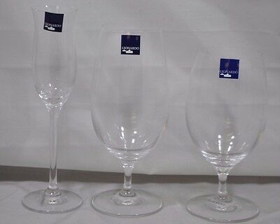 Leonardo 6-Piece Glass Set Glasses Water Grappa Champagne Beer 3 Styles 2 each