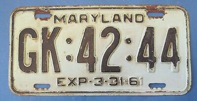 1961 Maryland License Plate