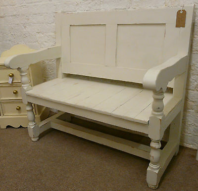 SOLID PINE BENCH/SETTLE/PEW In Antique Cream.