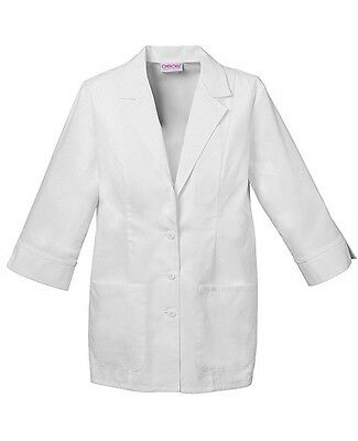 "Cherokee 29"" 3/4 Sleeve Lab Coat 2330 WHTD White Free Shipping"