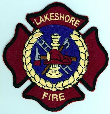 Vintage Lakeshore Fire Department Uniform Patch Ontario ON Canada
