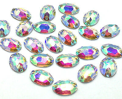 Oval Shape EIMASS® Sew or Glue on Resin Crystals, Flat Back Gems for Costumes
