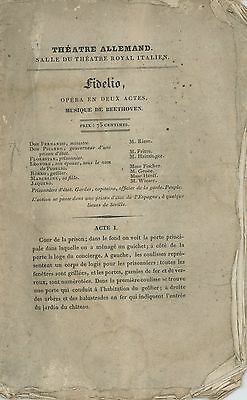 BEETHOVEN (Composer): Original 1829 Program from 1st French Fidelio Performance