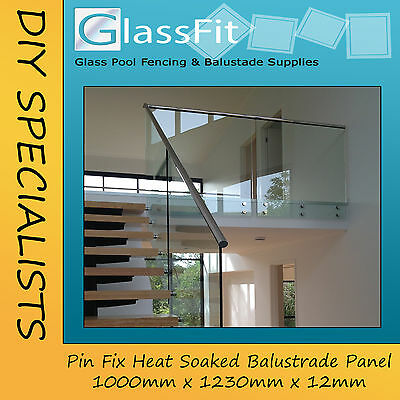 Balustrade Pin Fixed Glass Panel - 1000w x 1230h x 12mm - NO HANDRAIL HOLES