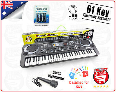 USB 61 Key Keyboard Electric Digital Piano Kids Beginner 2Way Speaker System MP3