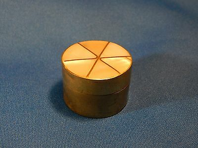 Small Ornate Round Brass Trinket / Pill Box with Segmented Pearlized Top!!