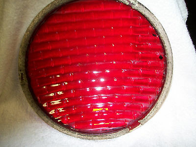 red glass stop light lens ..8 3/8 dia