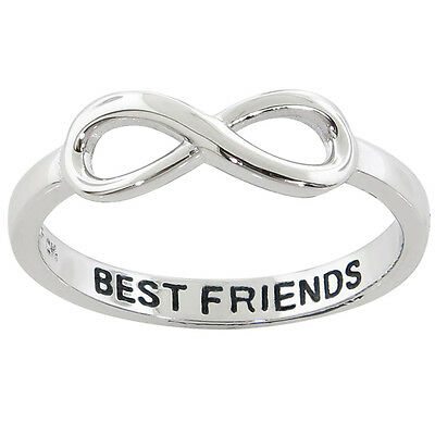 "Solid Sterling Silver 14k White Gold Plated ""BEST FRIEND"" Infinity Ring NEW"