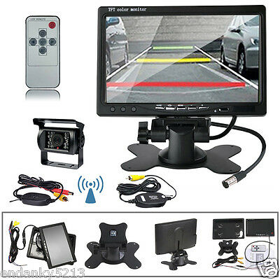"""7"""" Monitor Rear View Backup Camera Night Vision Wireless System for RV Truck"""