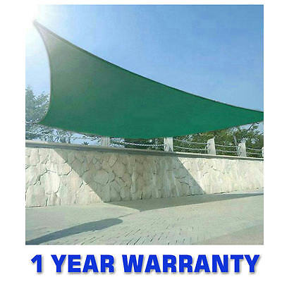 Quictent® 5M Sand Green Garden Sun Shade Sail Canopy 98% Uv Awning Free Ropes