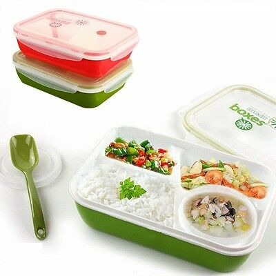 Lunch Box Food Container Portable Storage Picnic Bento Microwave Soup Bowl Spoon