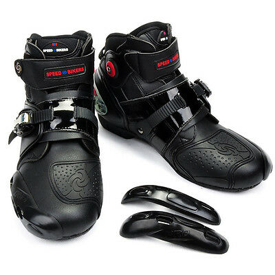 Motorcycle Sport Paddock Boot Short Black Leather Ankle Scooter Boots Waterproof