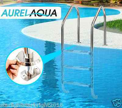 Swimming Pool Ladder - Non-Slip Wide Slotted Steps Stairs Stainless Steel