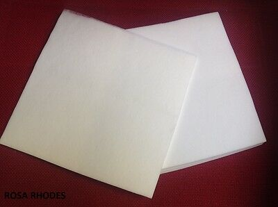 25 x EMROIDERY BACKING FABRIC -  40gm - 55gm - 71gm - WHITE VARIOUS SIZES (CM)