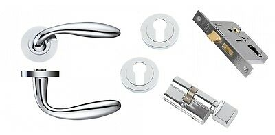 Verona Polished Chrome Handle Pack (Cylinder & Turn) C/w Hinges