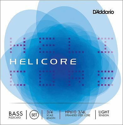 D'Addario HP610 3/4L Scale Bass Strings. Helicore Stranded Steel Core Pizzicato