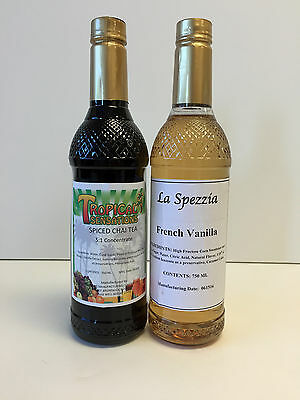 La Spezzia French Vanilla & Spiced Chai Tea Flavoring Syrup (2 bottles/750 ml)