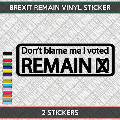 European Referendum 30cm Car Sticker Decal wall Don/'t Blame Me I voted REMAIN