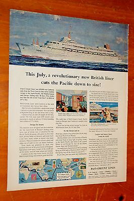 1961 P & O Orient Lines Ad With Canberra Cruise Ship Canadian Ad + Inco On Back
