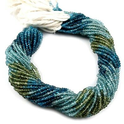 """5 Strands Full 13"""" Natural Multi Apatite Gemstone Rondelle Faceted Beads 3-3.5mm"""