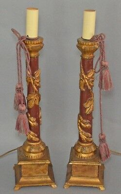 A Pair Of Early C1900 Polychromed And Gold Gilded Carved Wood Candle Stands.