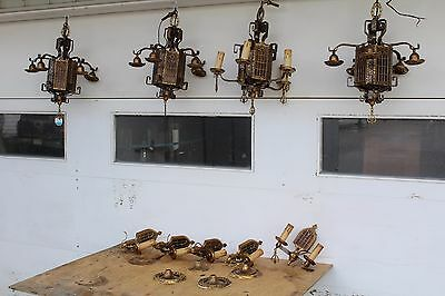 Rare Group Of 9 Gothic Ceiling  Light Fixture And Sconces , Art & Craft Hamered
