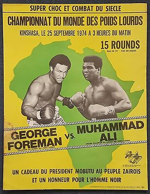1974 MUHAMMAD ALI v GEORGE FOREMAN on-site boxing poster Cassius Clay with LOA