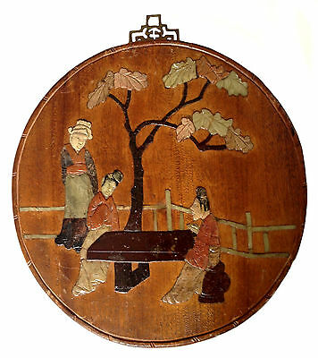 CHINESE SOAPSTONE PANEL Qing-Republic Wood Panel Round Scholars At Table Garden