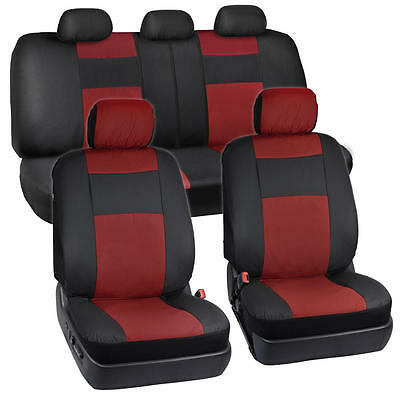 Black & Red PU Leather Seat Covers for Car Auto SUV Split Option Bench Synthetic