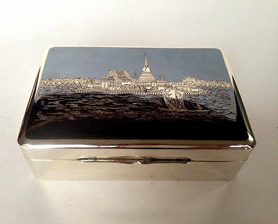 STERLING SILVER Niello Siam Thailand Trinket Jewelry Cigarette Box 925 Art Deco