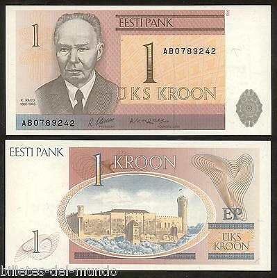 B-D-M Estonia 1 kroon  1992 Pick 69 AB SC UNC