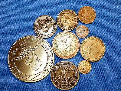 Transportation, Game, Military and Novelty Tokens (9) Pc. Lot!