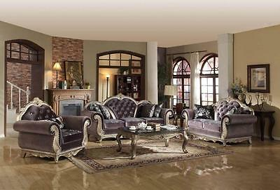 Meridian 653 Roma Living Room Set 3pcs in Grey Hand Crafted Traditional Style
