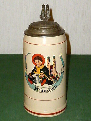 Antique Beer Tankard 1L Munich Kindel Kindl Jug Mugs munich Beer Mugs Beer Stein