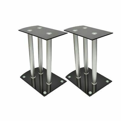 B#Aluminum Speaker Stands 2 pcs Black Safety Glass High Quality