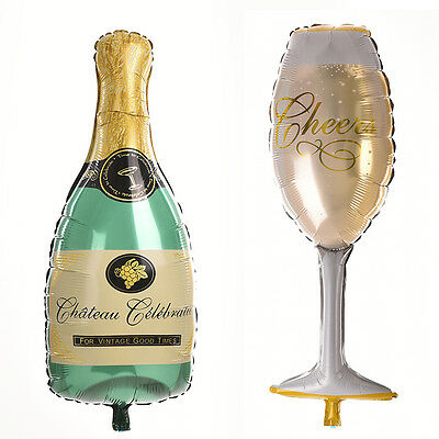 Champagne Bottle Glass Foil Balloons Happy Birthday & Wedding Party Decor TOUS