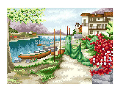 Diamond Painting-Diamant Stickerei/Malerei Diamant Bild Fischerdorf 35x43 cm