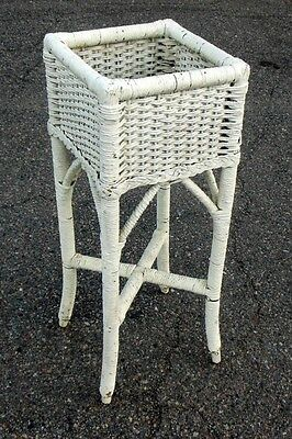 Vintage Antique White Wicker Plant Stand Planter Fern Holder Garden Cottage Chic