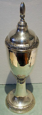 Tall 800 Silver  Cup/trophy With Cover By:ml--19 C -H=25 Inches -43.794 Troy Oz