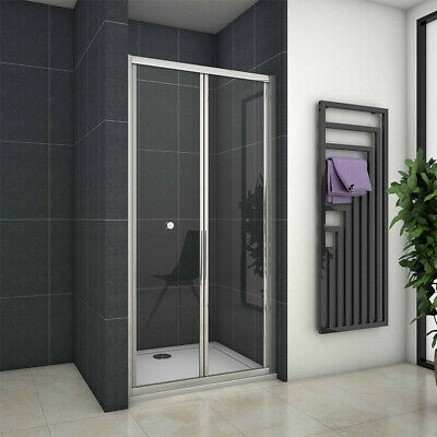 Aica 700/760/800/900/1000 Bifold Shower Door Enclosure Glass Cubicle Screen Tray