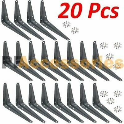 "20 Pcs Heavy Duty 5"" x 6"" inch Metal Shelf Brackets Grey Book Contertop Support"