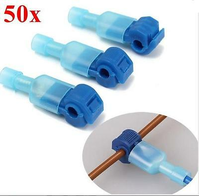 50pcs Blue Quick Splice Wire Terminal And Female Spade Connector Set