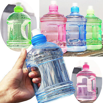 0.5L/1L BPA Free Sport Gym Training Party Drink Water Bottle Cap Kettle +Handle