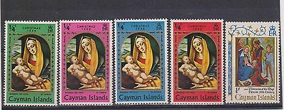 (MIXX-42) 1969-71 Cayman Island mix of 5 Christmas stamps MH