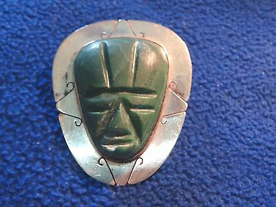 Sterling Silver Carved Nephrite Jade Large Aztec Face Mask Brooch Pendant G/J