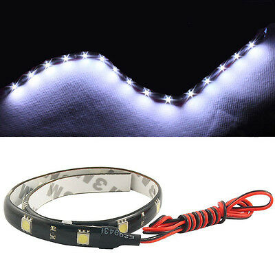 1x 30cm Waterproof 15LED Car Vehicle Motor Grill Flexible Light Strips 12V White